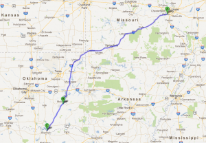 st louis to dallas map