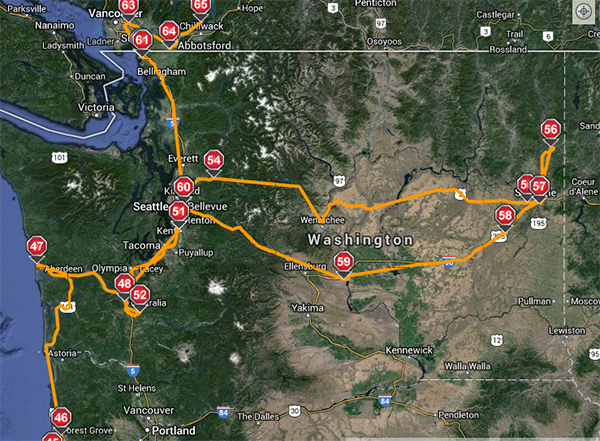 The route we drove the RV across Washington