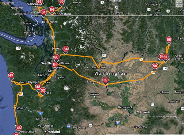 The route we drove the RV across Washington