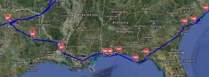 Texas to South Carolina RV Route
