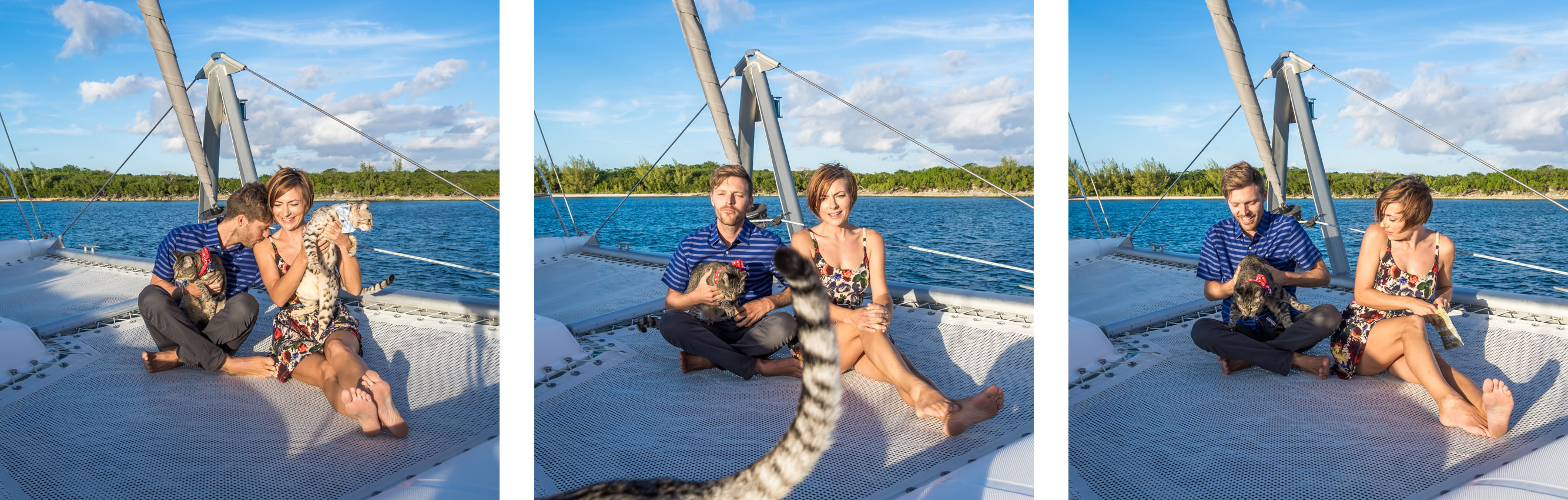 Jason and Nikki Wynn sailing catamaran