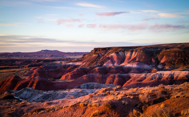 sunset at the painted desert