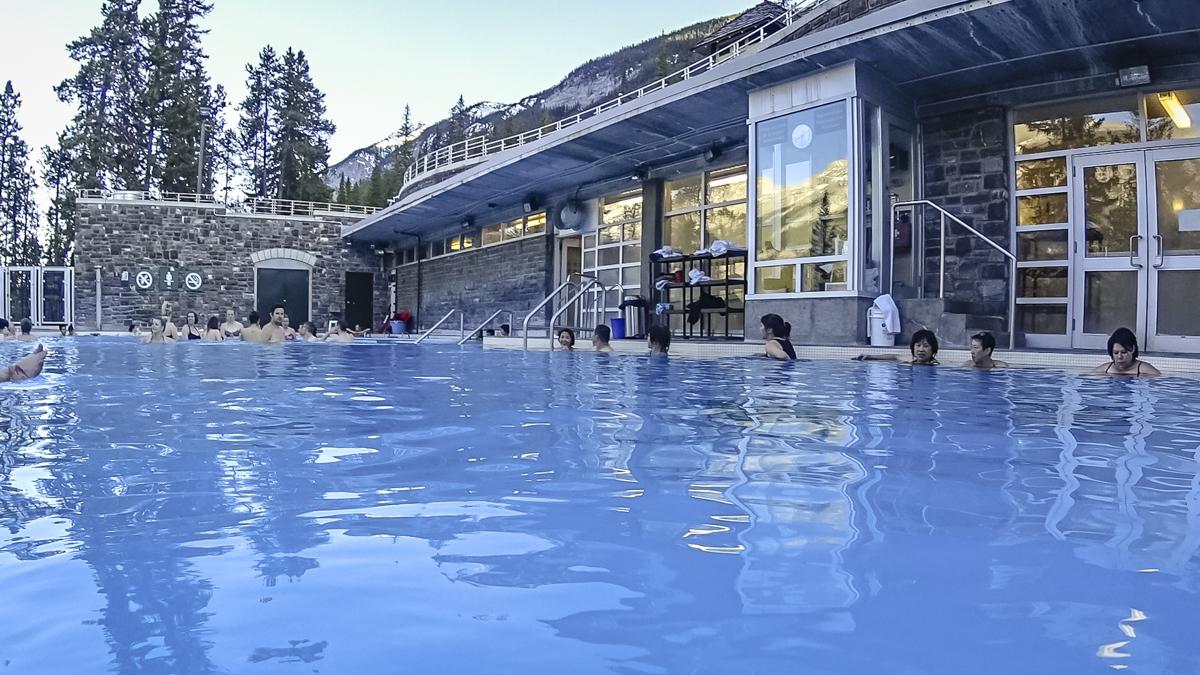 soaking in hot springs