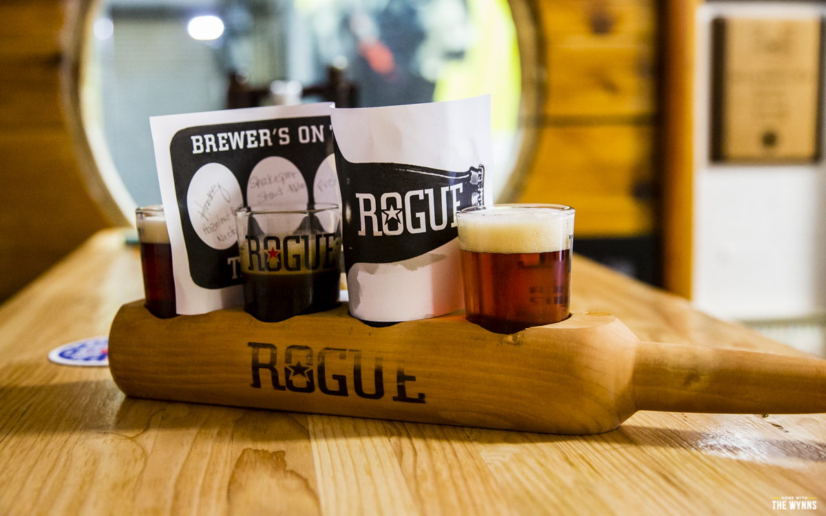 having a flight at Rogue Brewery