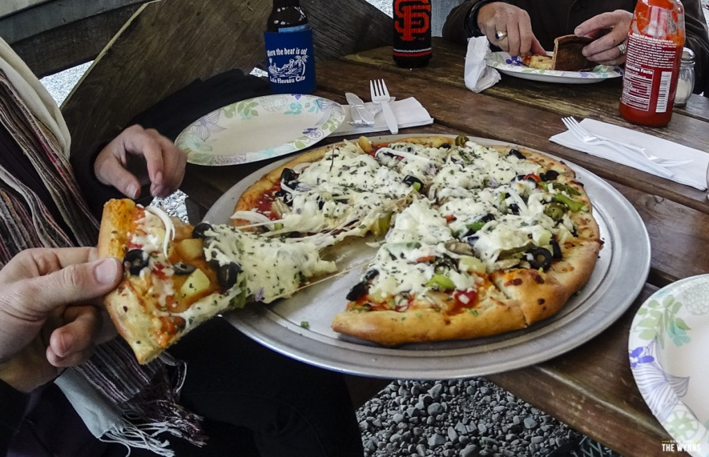 pizza after a long hike