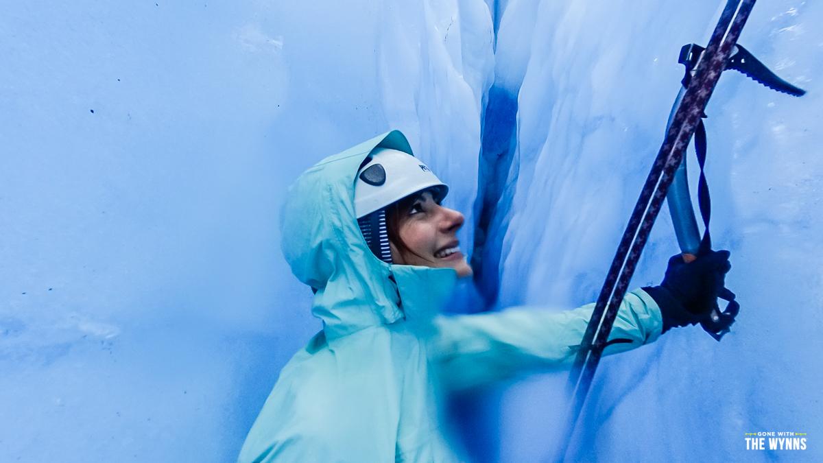 nikki wynn in a glacier in alaska