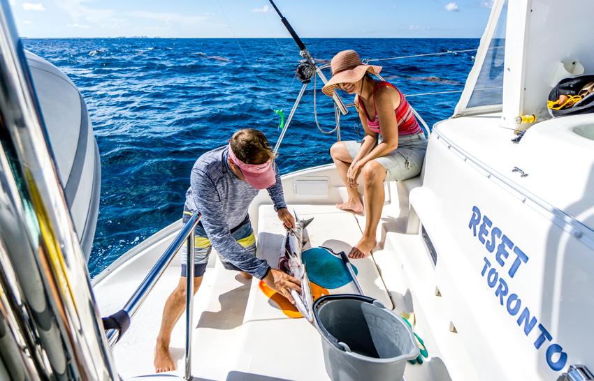 catching baracuda while sailing
