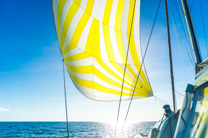 flying spinnaker on a catamaran