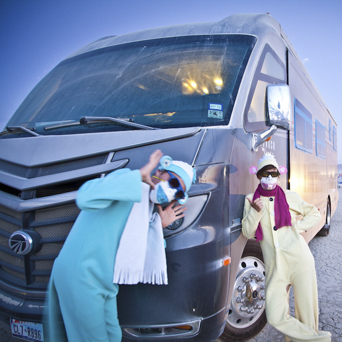 Wynns and the RV at Burning Man