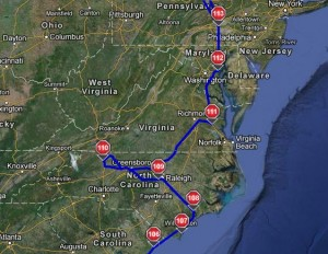 South Carolina to Pennsylvania Driving Route
