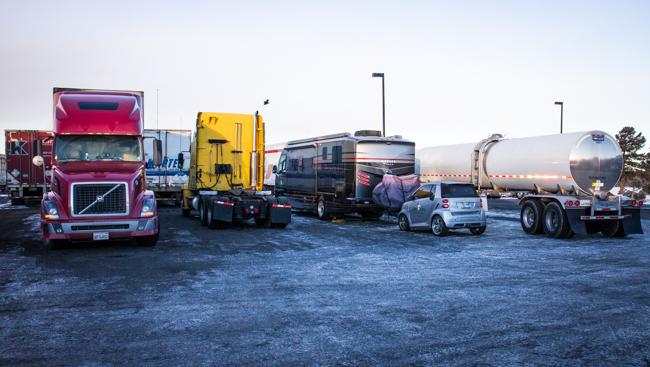 RV camping at a truck stop