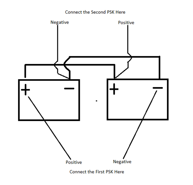 Connecting two PSK to two 12 volt batteries