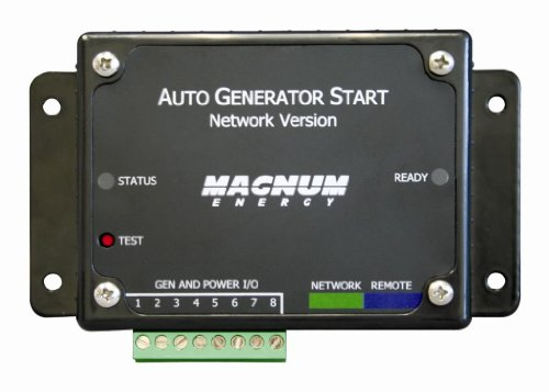 Magnum Energy ME-AGS-N Automatic Generator Start Module 3-relay with Voltage and Temp Start/Network Version, Selectable cabin temperature for genstart 65-85 °F, Selectable battery voltage for genstart 10-12 VDC or 20-22 VDC, Selectable generator run time 1-5 hours, 5 Selectable quiet time, Adjustable 24-hour clock, Manual start and stop