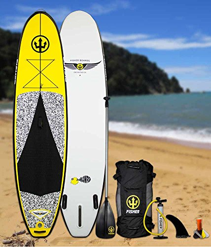 Fisher Boards Blowfish 11' Inflatable SUP with Pump, 3-PC Adjustable Paddle, and Backpack