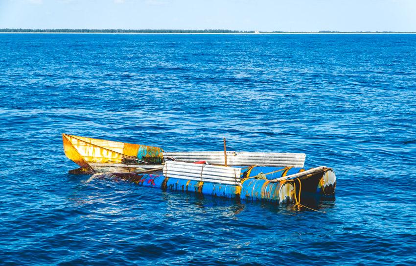 abandoned refugee boat