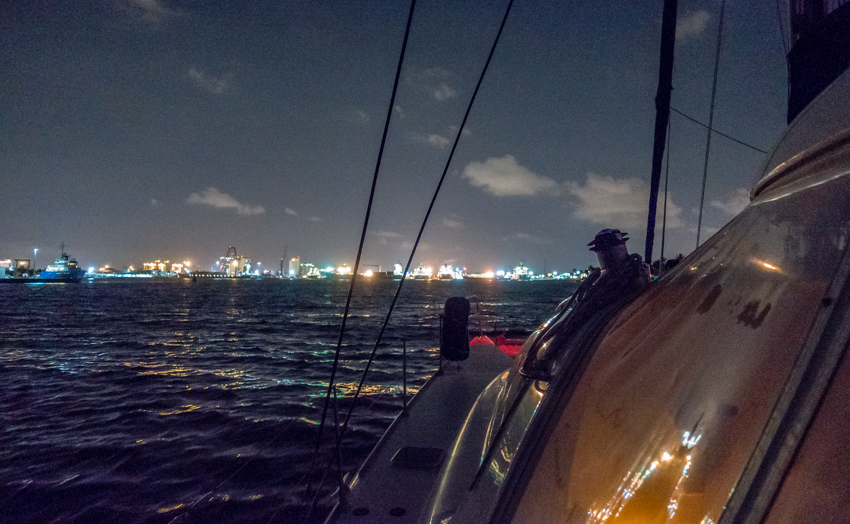 nighttime sailing arrival