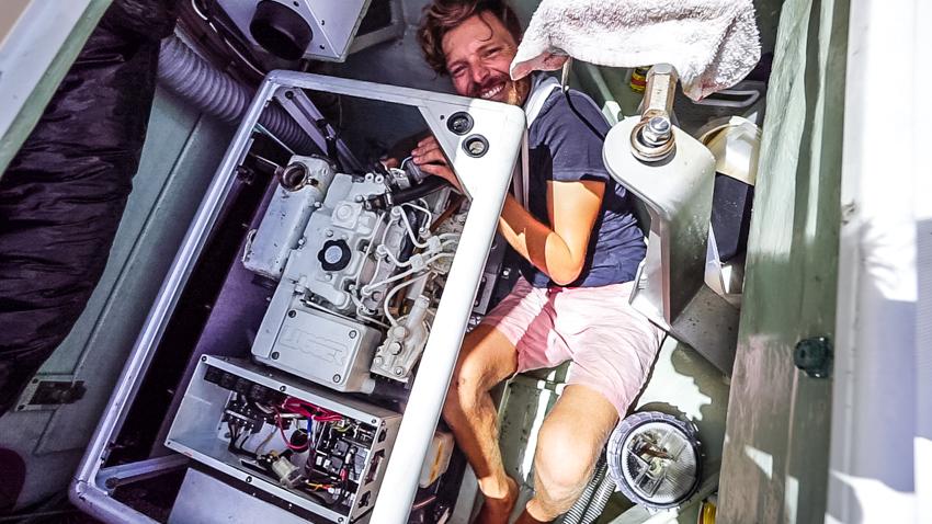 Jason Wynn repairing generator