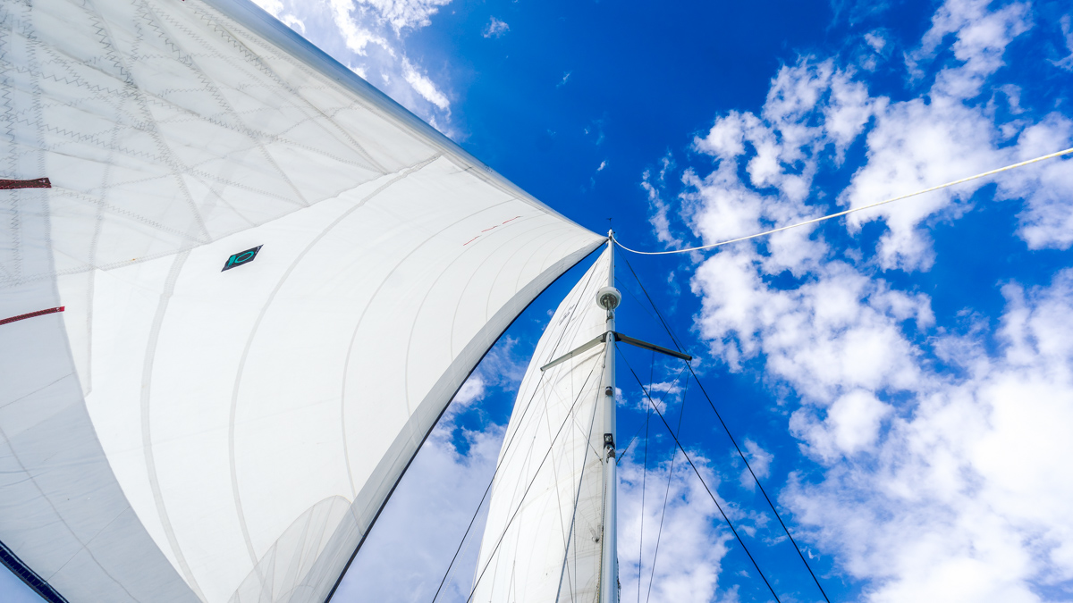 blue skies and full sails