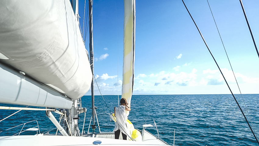 flying the spinnaker on our catamaran
