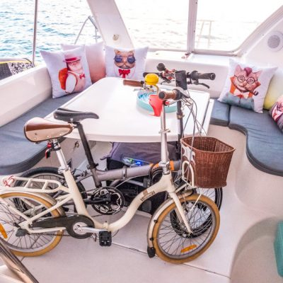 folding bicycles on sailboat