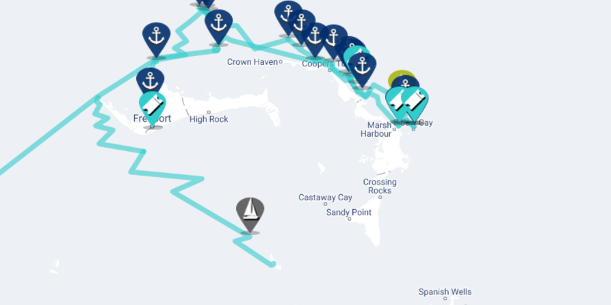 sailing to berry islands map