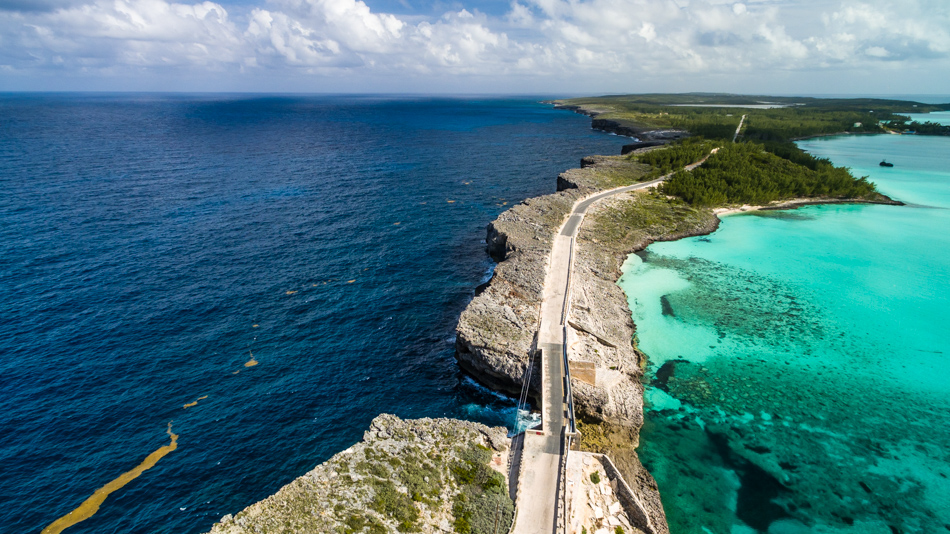 drone view window bridge eleuthera
