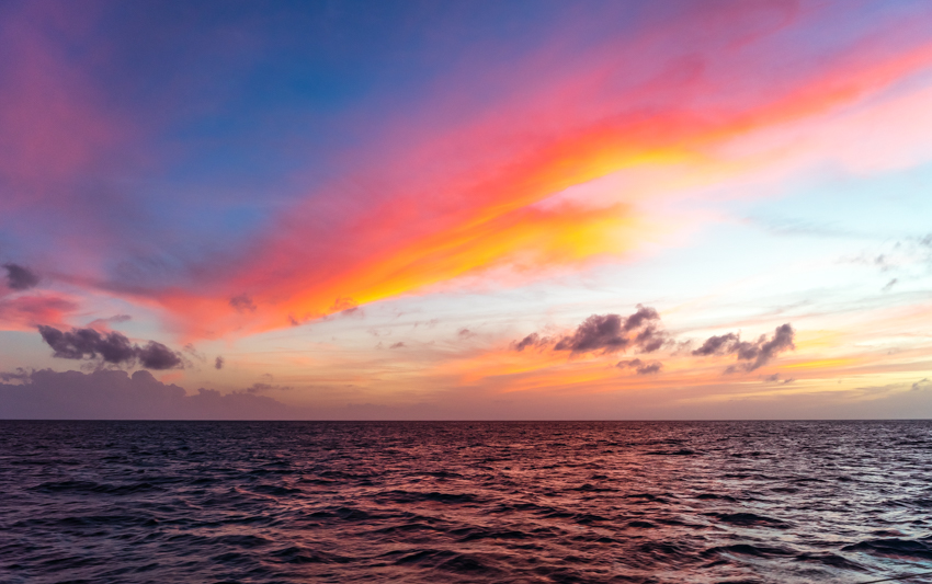 sunset from sailboat bahamas