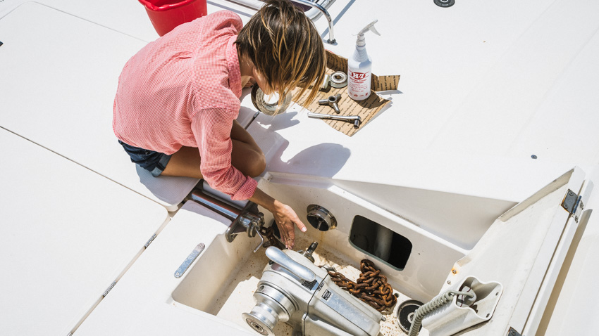 servicing sailing cat windlass