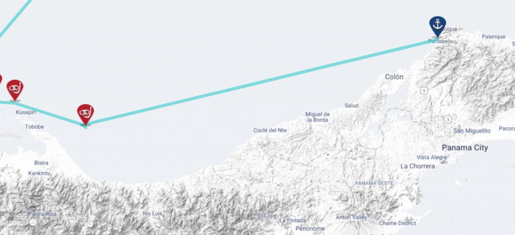 Panama sailing map