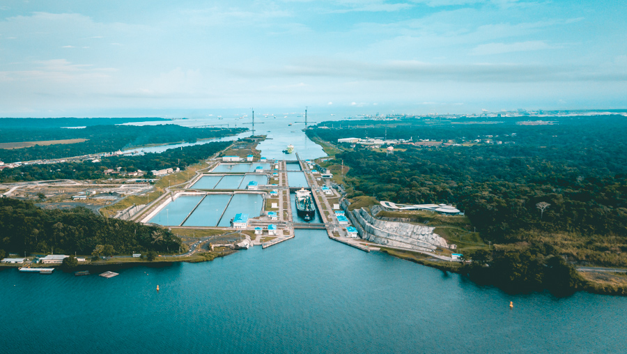 drone view of the panama canal