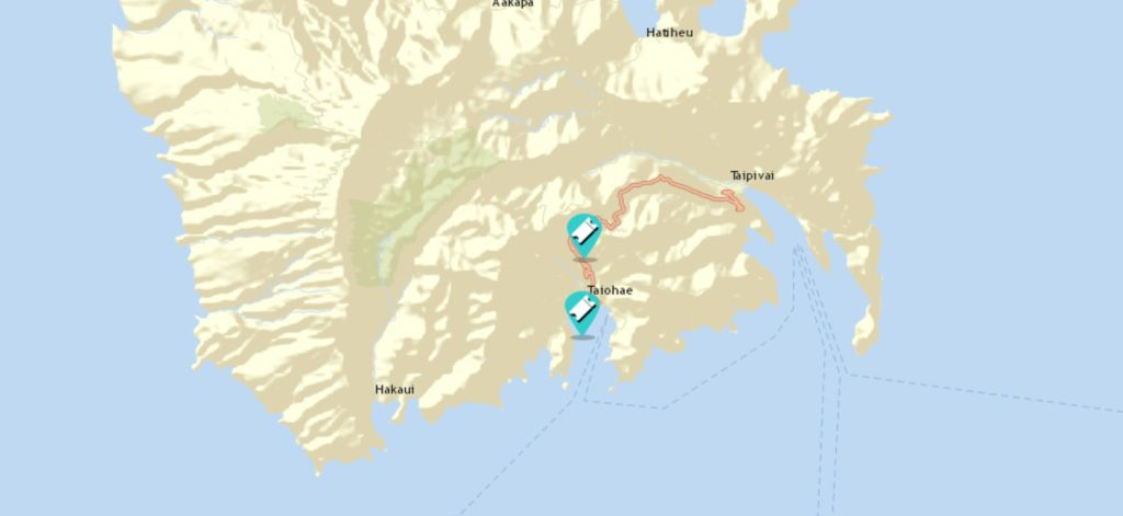 map of sailing adventures in Nuku Hiva