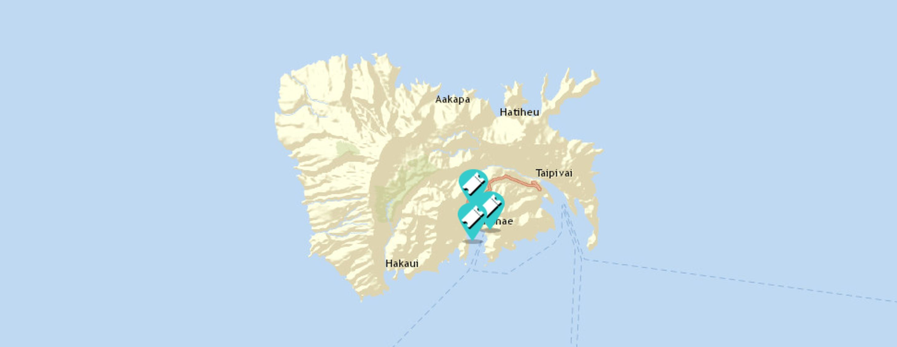 map of where we sailed in the marquesas
