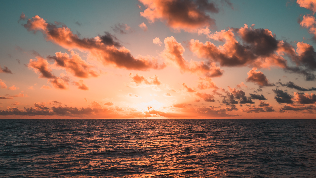beautiful sunset at sea while sailing the south pacific