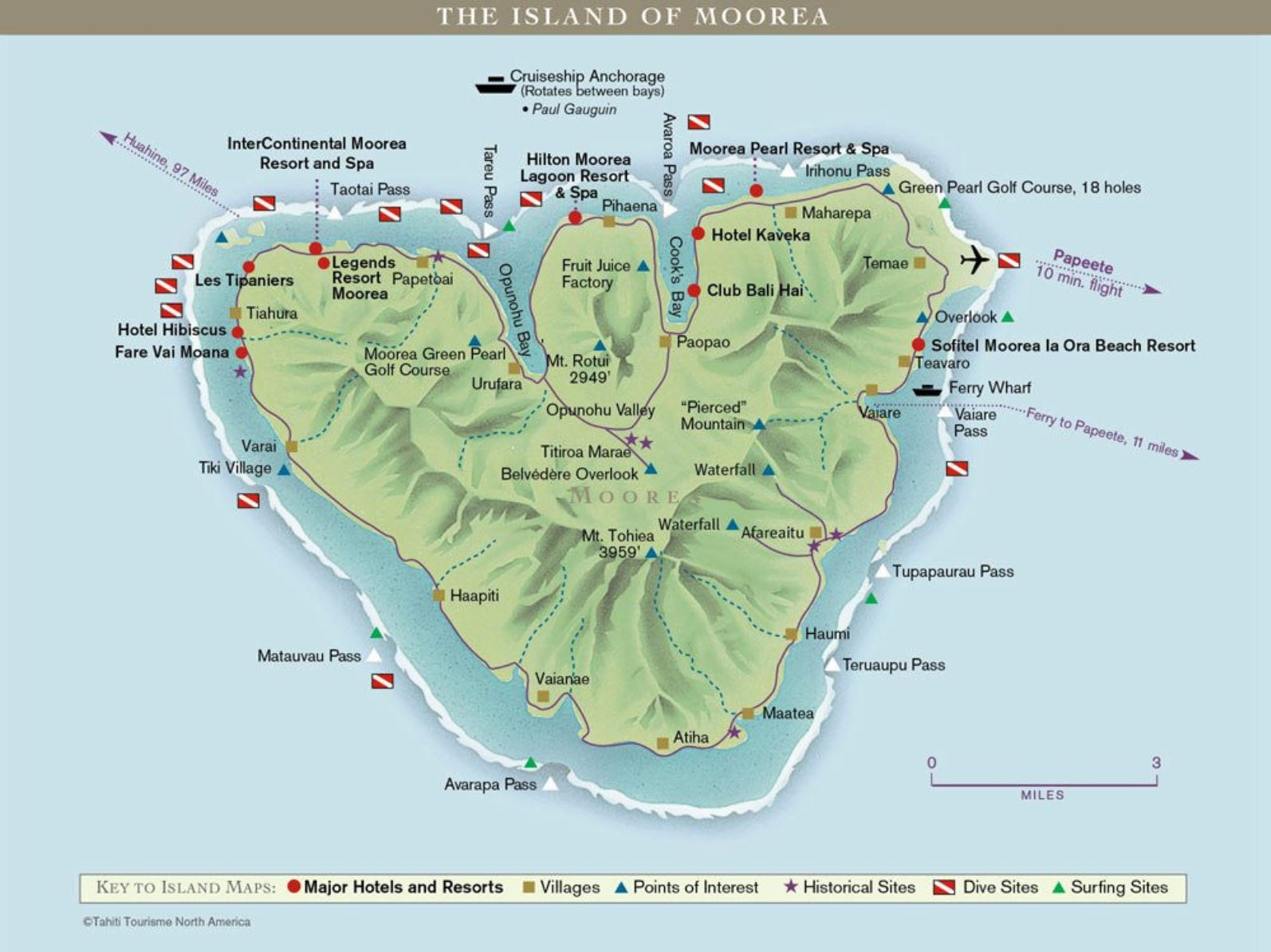 Island of moorea dive map