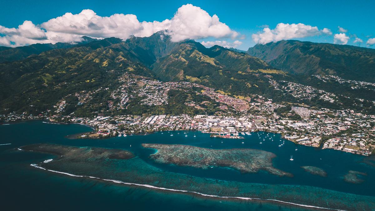 drone shot of beautiful tahiti