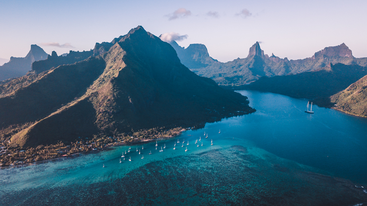 drone view of moorea, french polynesia