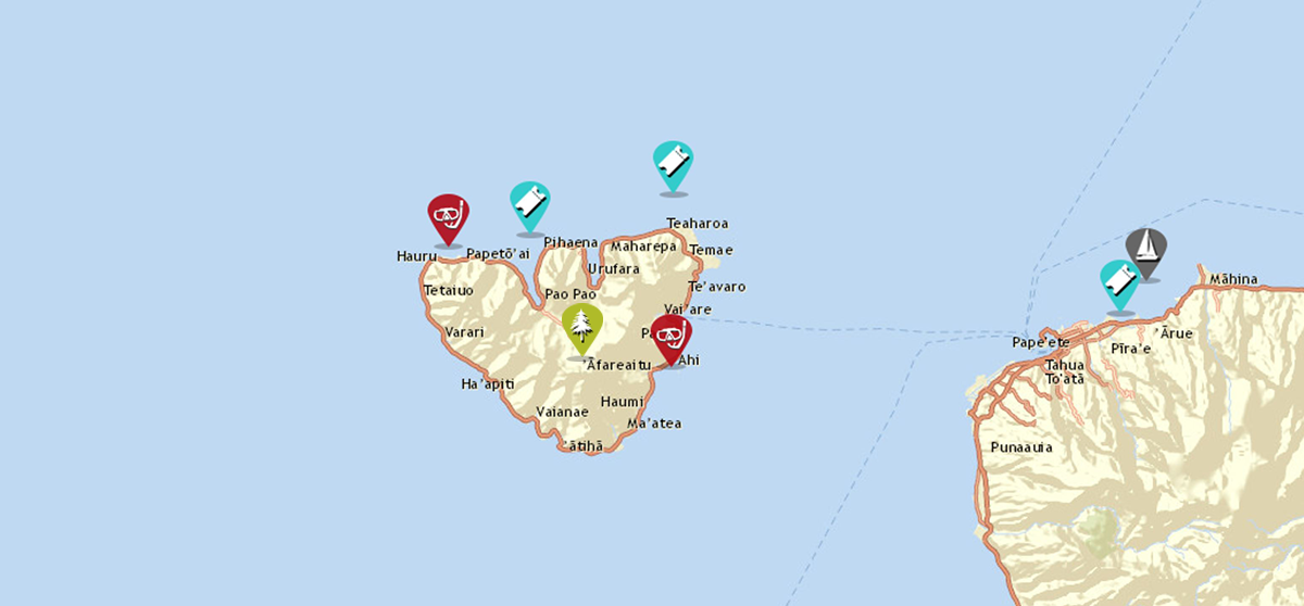 sailing and adventure map of moorea french polynesia