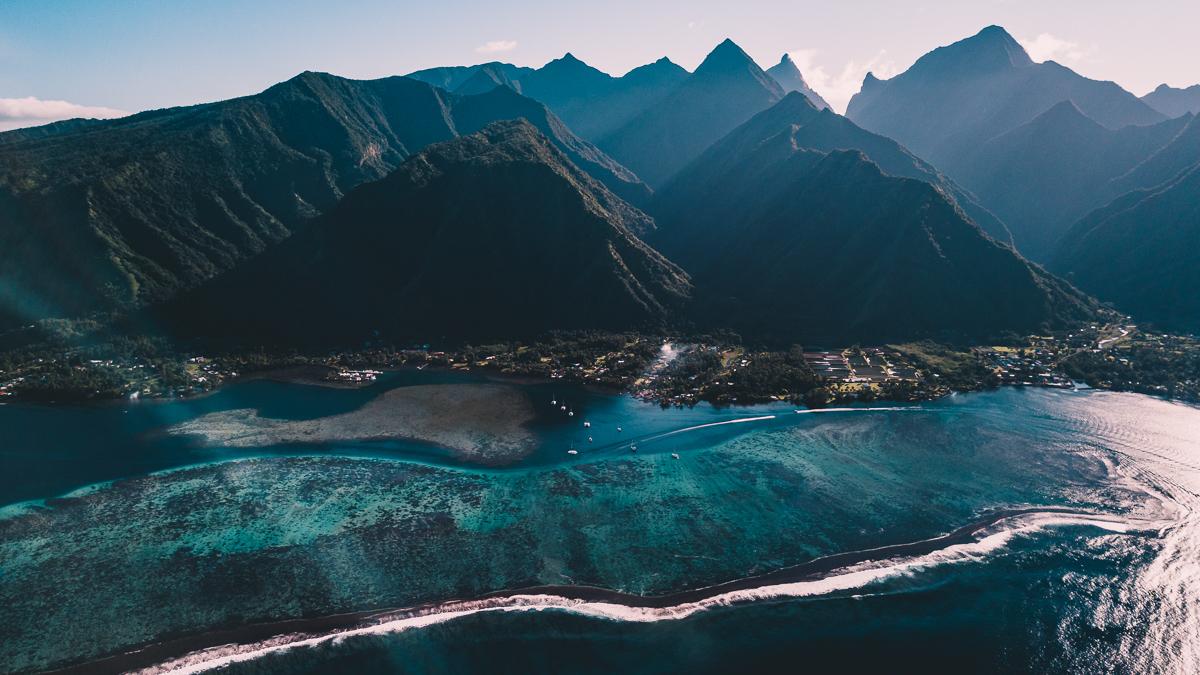 Teahupo'o' Tahiti drone view