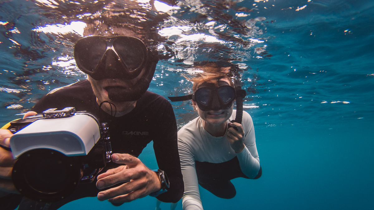 Jason and nikki wynn happy face swimming with whales in moorea french polynesia
