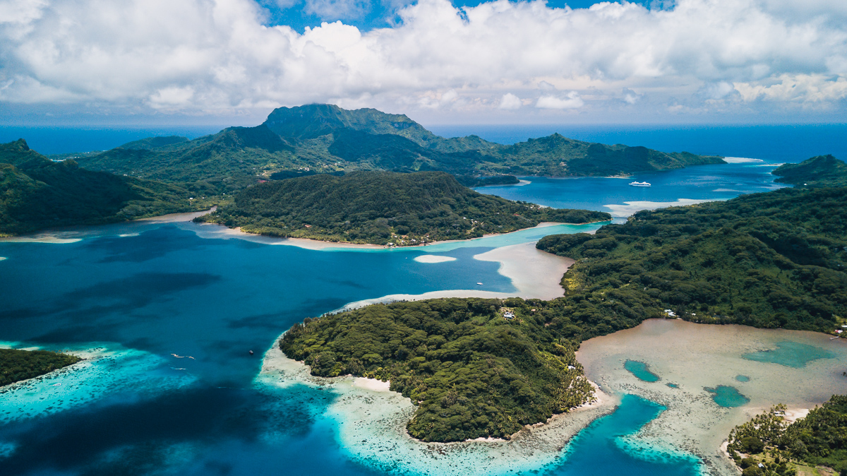beautiful areal view of huahine island