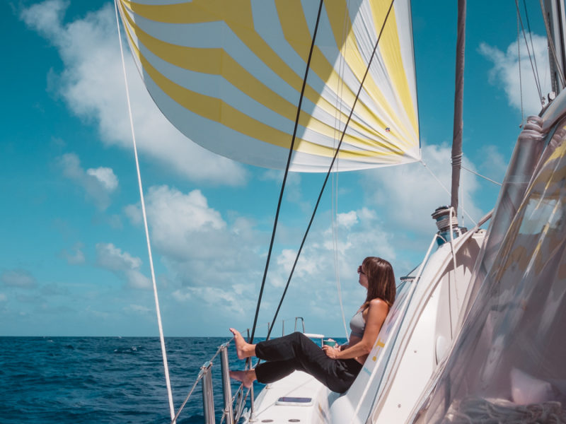 nikki wynn sailing with spinnaker in South Pacific