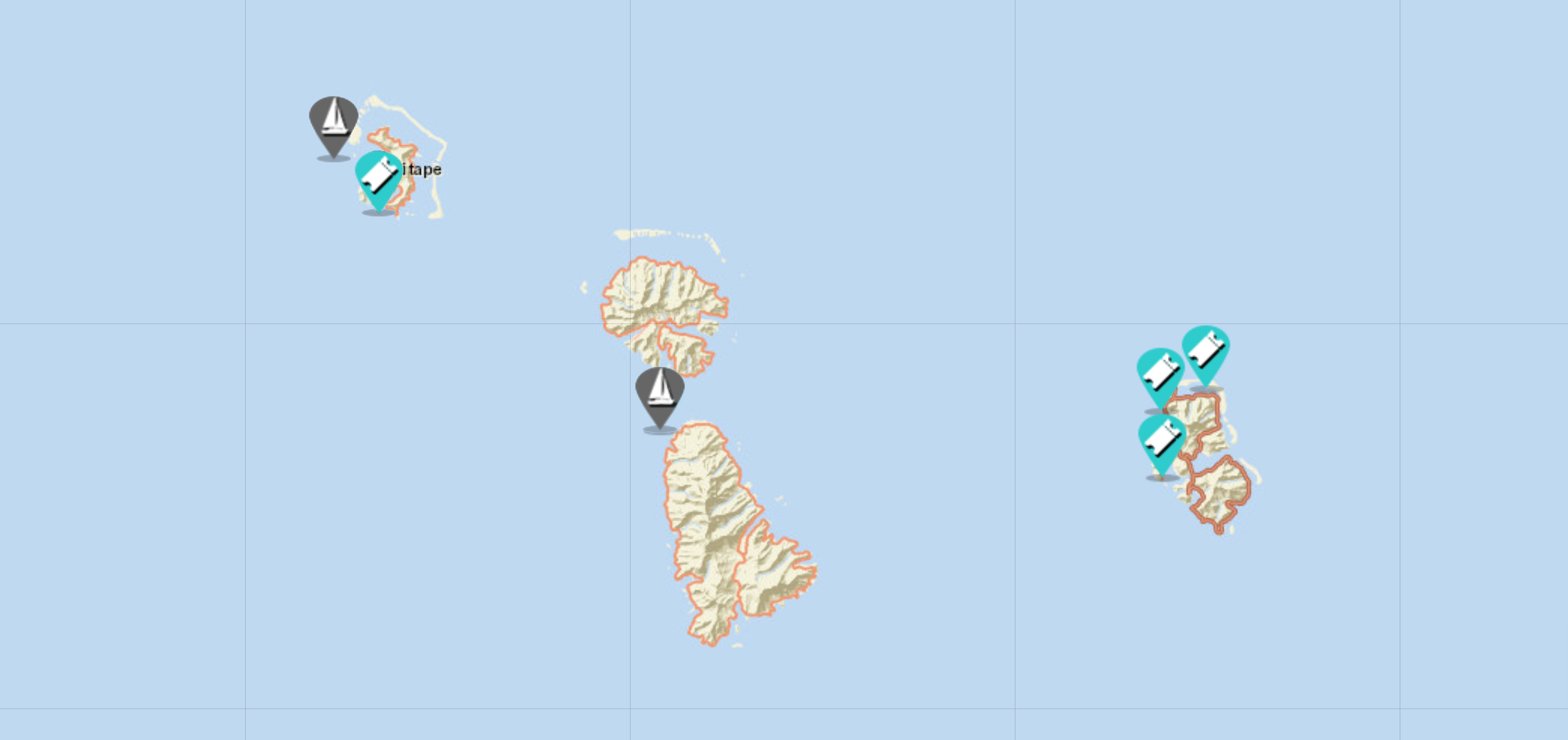 sailing map of bora bora