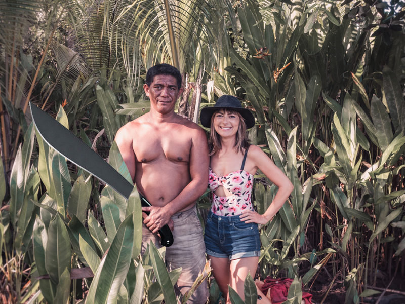 nikki wynn and nice man with a machete in a jungle