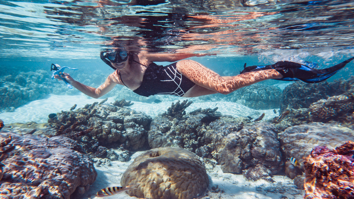 nikki wynn snorkeling tahaa through the coral gardens