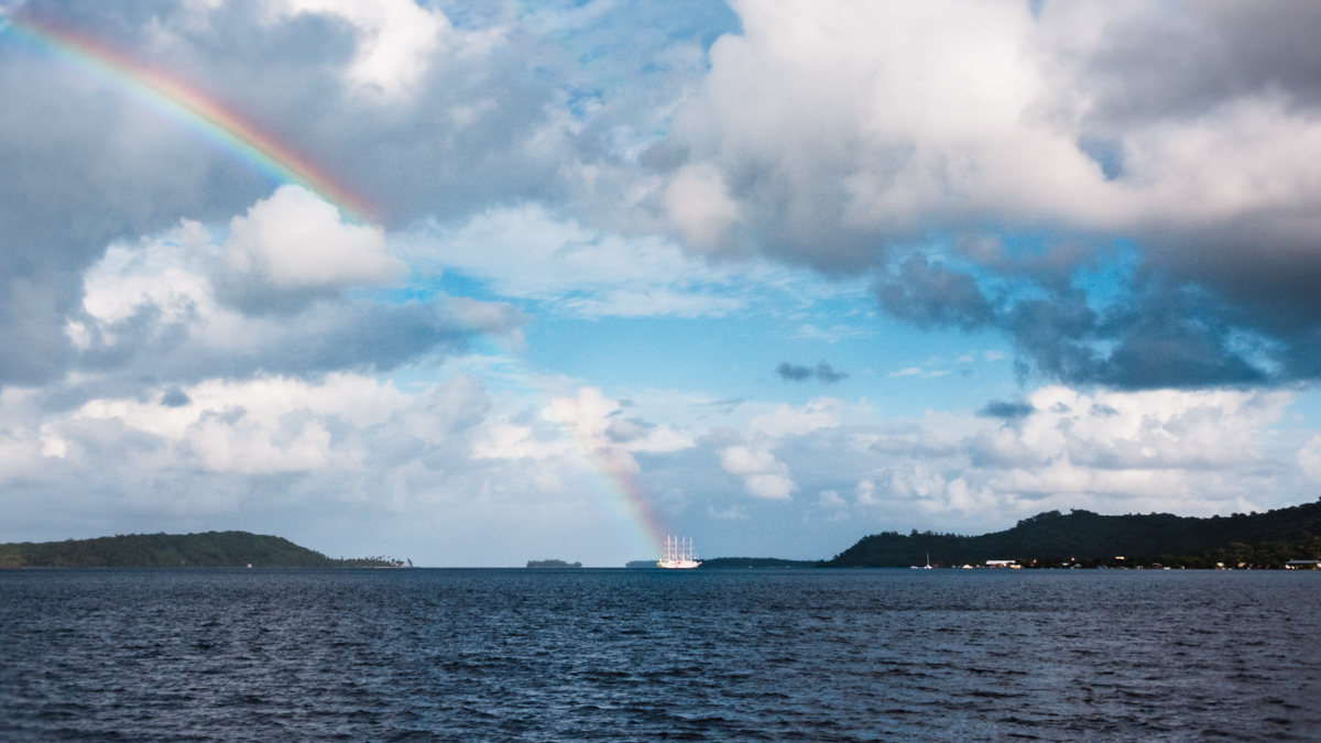 rainbows and sailing in bora bora