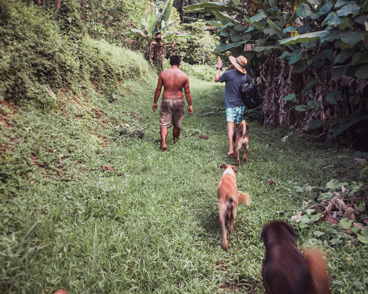 jason wynn getting a tour from a local in raiatea french polynesia