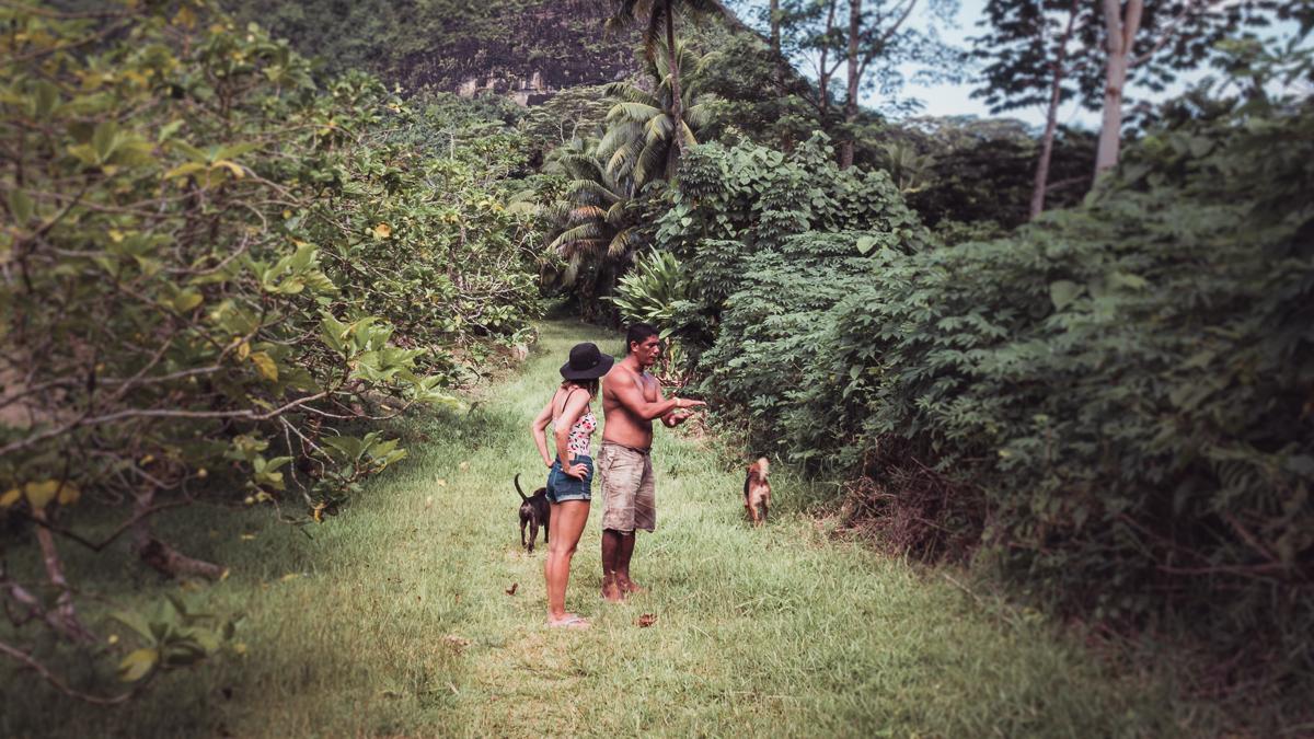 nikki wynn getting a tour from a local in raiatea french Polynesia