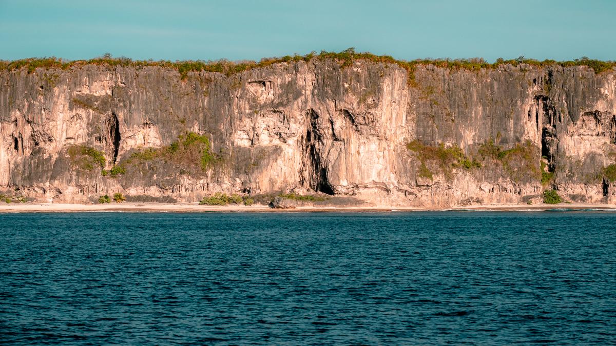 Sailing and beautiful views of Makatea in the Tuamotu archipelago
