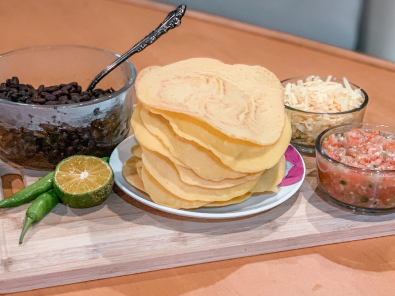 corn flour crepes with black beans, fresh salsa and smoked cheese