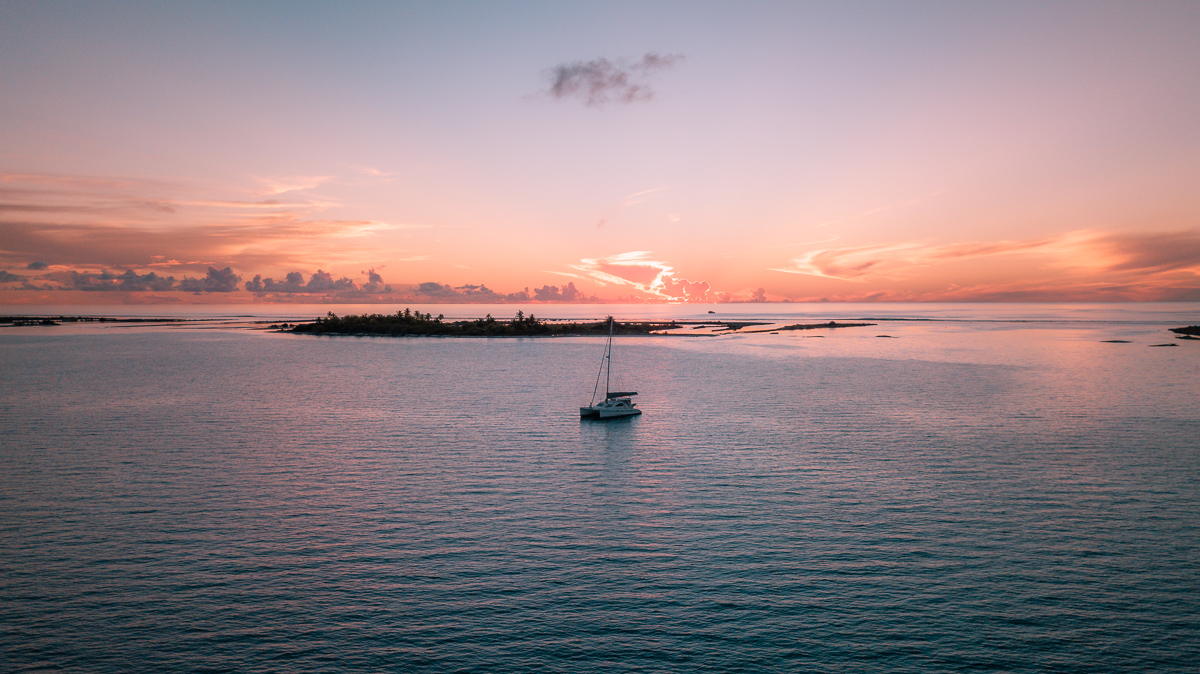 stunning sunset on a remote atoll in south pacific